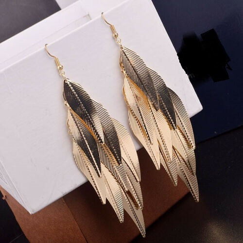 Multi Layer Leaf Drop Long Earrings