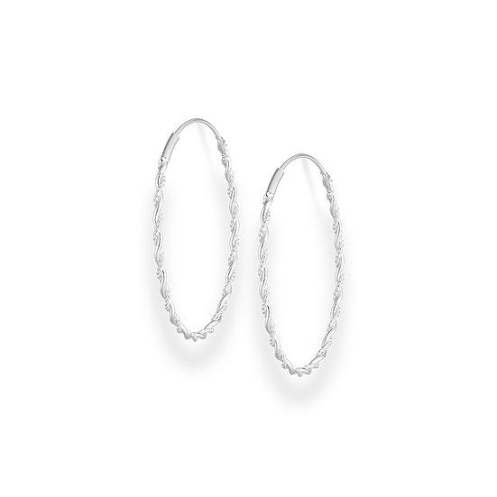 925 Sterling Silver Twisted Hoop Earrings