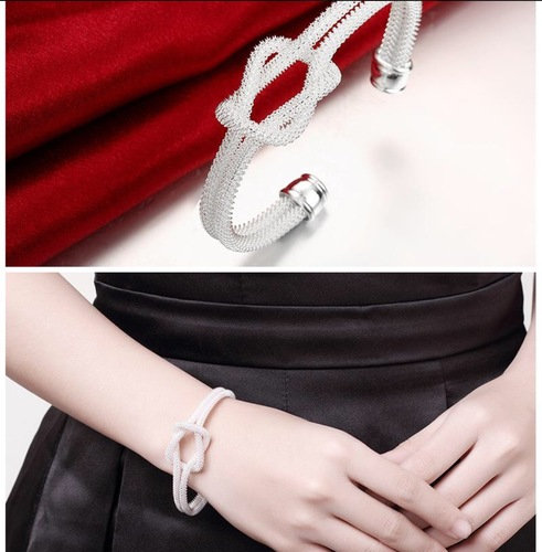 Unique Knot mesh Bracelet Bangle Silver Plated