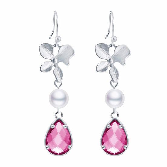 Orchid Flower Water-drop Earrings