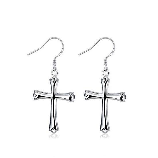 Silver Classical Cross Earrings