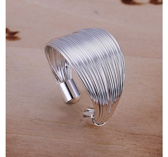 Silky Threads Adjustable Ring 925 Sterling Silver Plated