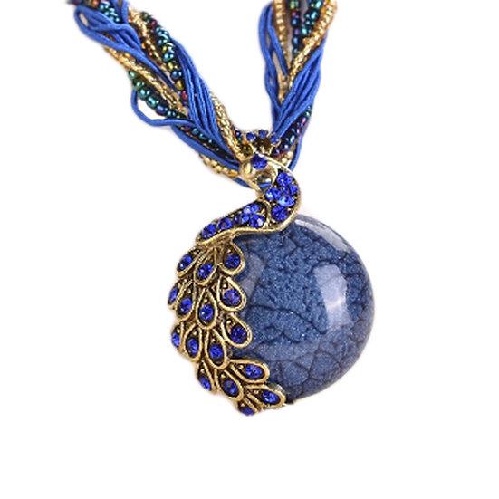Retro Bohemia Style Pendant Opal Phoenix Peacock Necklace