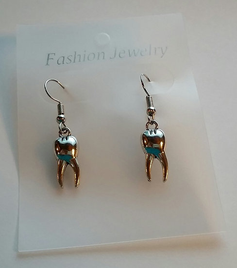 Vintage Silver Tooth Charm Earrings-Not a Real Tooth
