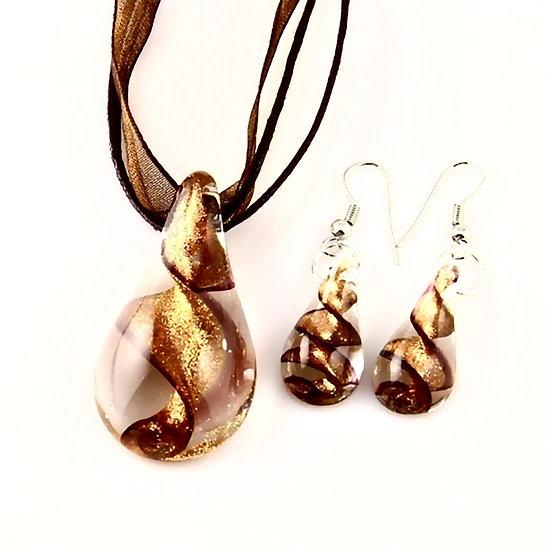 Teardrop Glitter Venetian Murano Glass Pendants And Earrings Jewelry