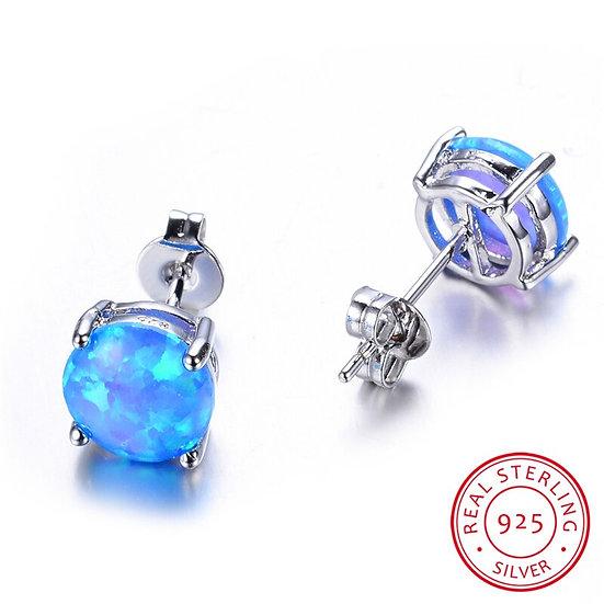 Round Blue Fire Opal Earrings
