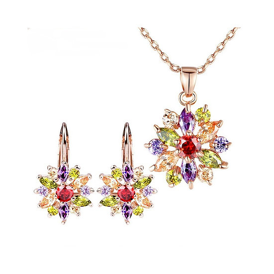 Luxury 18K Rose Gold Plated Zircon Jewelry Set