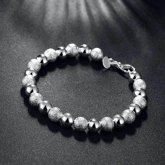 "8"" Silver Plated Ball Bead Bracelet"