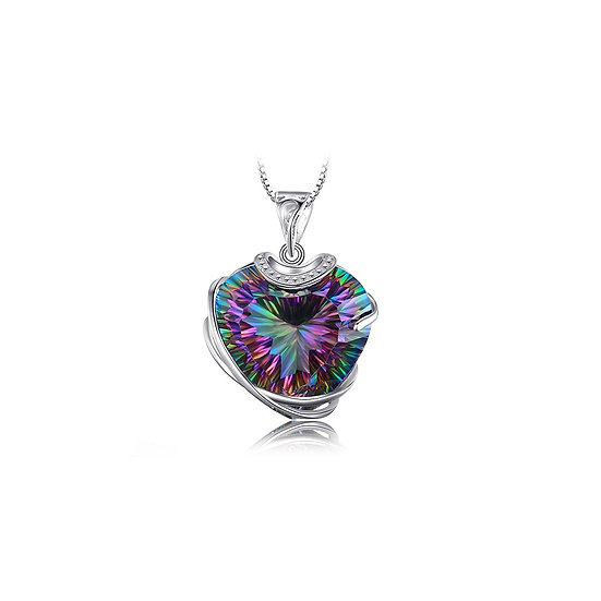 Huge 32ct Rainbow Fire Mystic Topazs Pendant Real 925 Solid Sterling Silver
