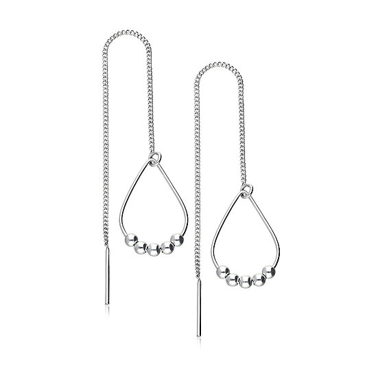 925 Sterling Silver Ball Threader Earrings