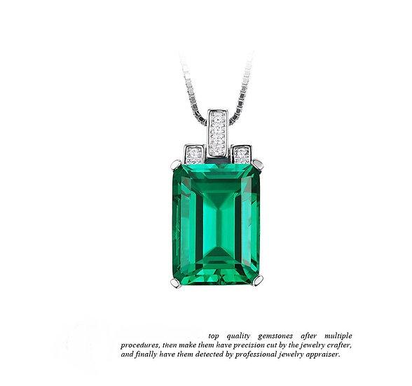 Lab Created 6ct Nano Emerald Green Sterling Silver Pendant