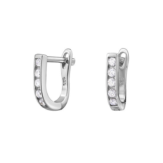 Silver Huggies 10mm with Cubic Zirconia