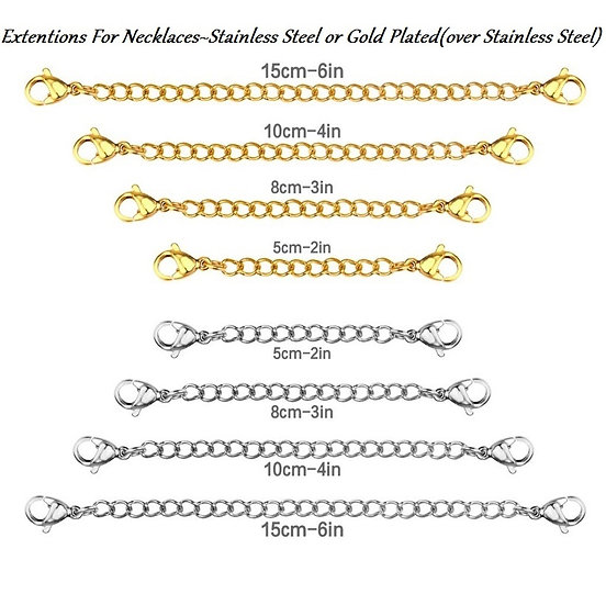 Extentions for Necklaces in Stainless Steel or Gold Plated Over Stainless Steel