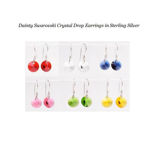 Dainty Swarovski Crystal Drop Earrings in Sterling Silver