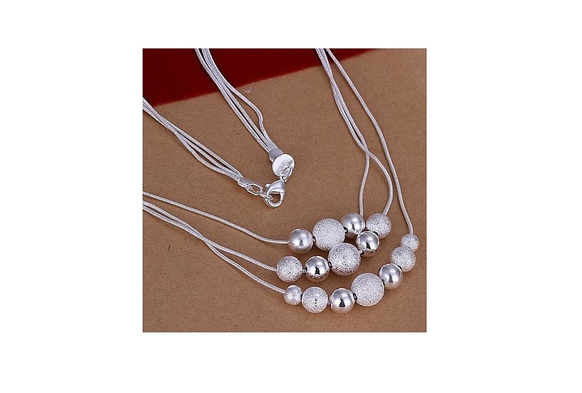Silver 3 Layered Charming Beads Balls Necklace, Earrings