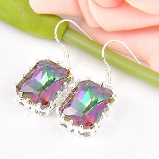 Rainbow Mystic Fire 925 Sterling Silver Dangle Earrings