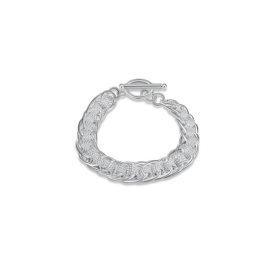 Silver Interlocking Chain & Mesh Bracelet