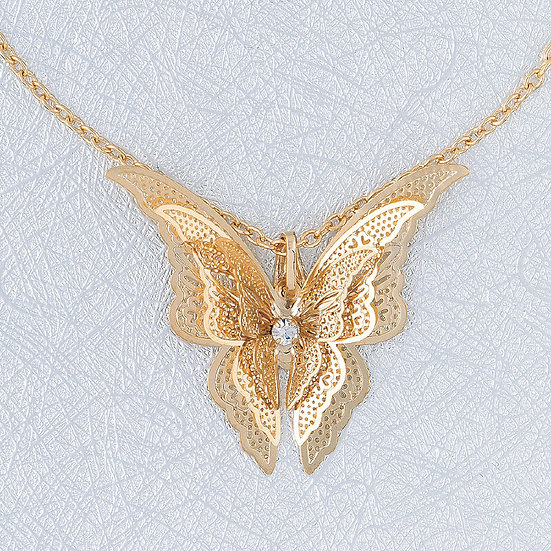 Gold Filigree Butterfly Pendant & Chain