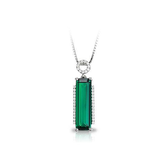 3ct Nano Russian Created Emerald Pendant .925 Sterling Silver