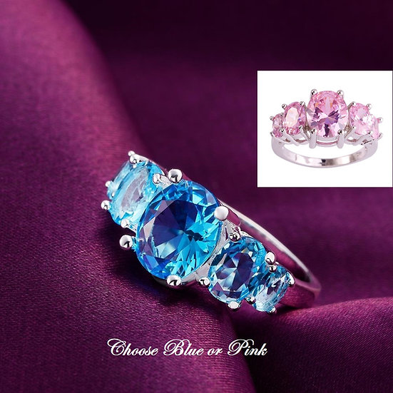 Classic Sparkling Crystal CZ Ring Pink or Blue