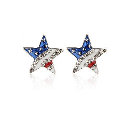 Heart or Star American Flag Earrings