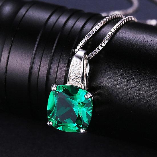 Nano Russian Emerald Pendant Solid 925 Sterling Silver Square Cut