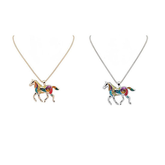 Colorful Running Horse Pendant