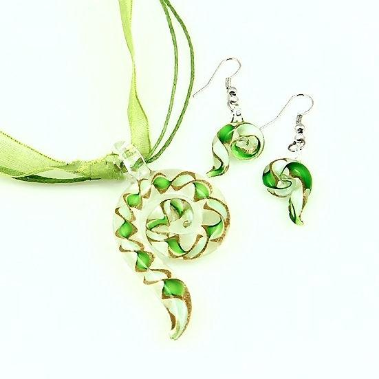 Swirled Venetian Murano Glass Pendants And Earrings