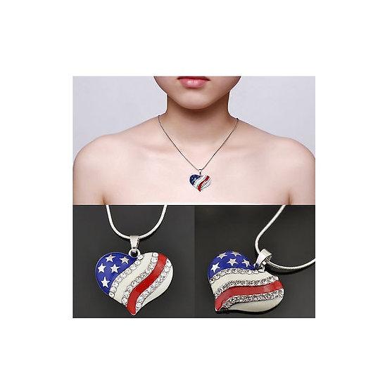 Women's Fashion American USA Flag Pattern Pendant