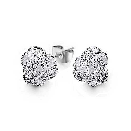 Small Classy Love-Knot Post Stud Sterling Silver Earrings