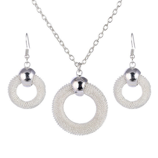 Silver Plated Mesh Pendant and Earring Set