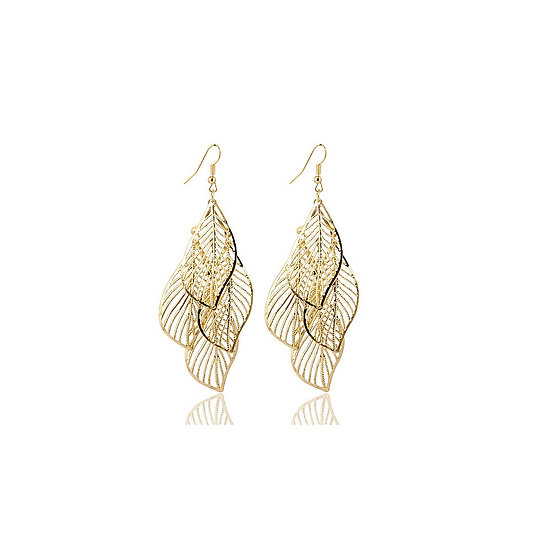 Hollow Flower Gold or Silver Plated Leaf Drop Earrings