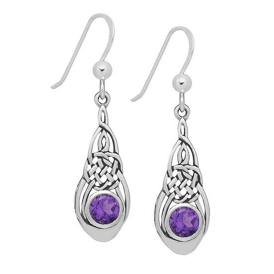 925 Sterling Silver Celtic Earrings with Semi Gem Stones