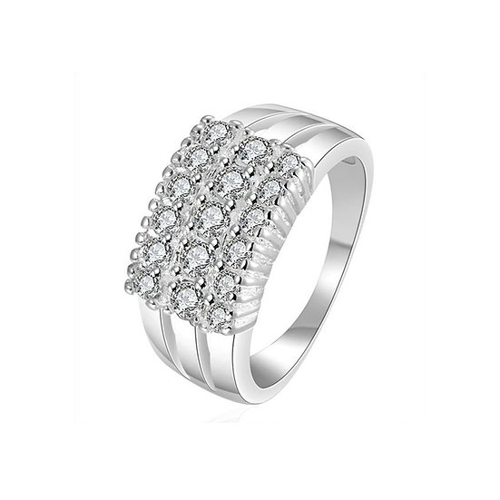 Stainless Steel CZ Ring~Silver Plated