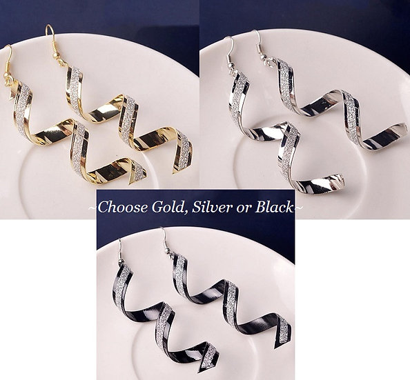 Twist Spiral Earring Silver, Gold Plated or Black