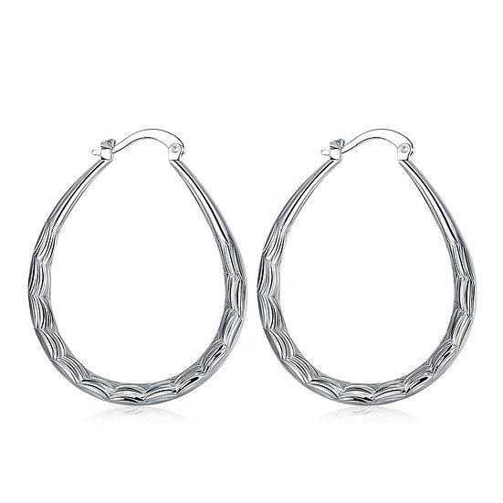 Twisted Line Hoop Earrings  Silver