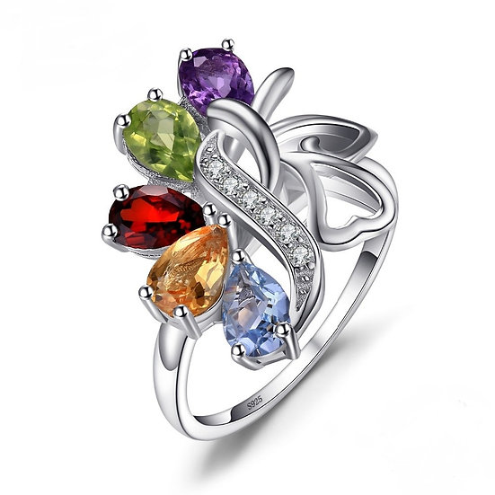 Genuine Gemstone Cocktail Ring-Sterling Silver