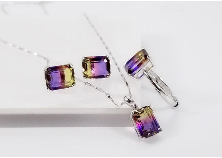 925 Sterling Silver Rectangle Ring, Pendant, Earrings Set