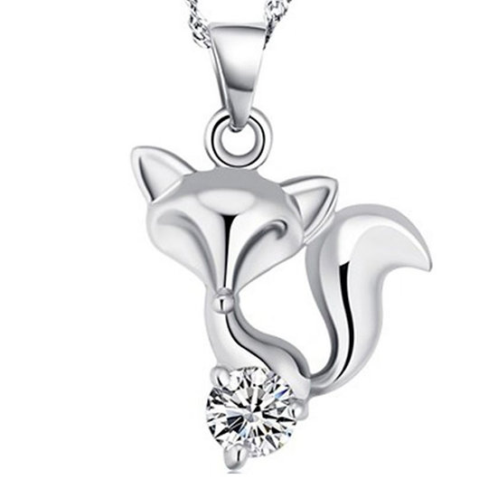 "Sterling Silver Fox Pendant with Free  18"" Water Wave Necklace"