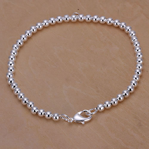 "Silver Ball Bracelet - 8"" -Strung on a Silver Snake Chain"