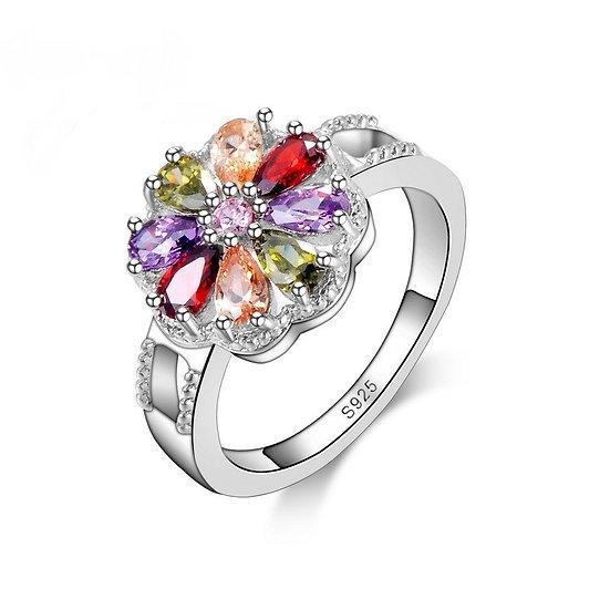 Elegant Multi Color Crystal 925 Sterling Silver Rings 6,7,8 or9