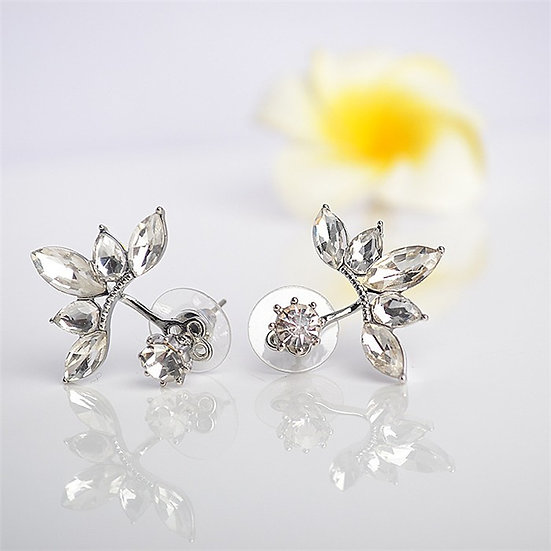 Rhodium-plated SS Clear Cubic Zirconia 2 In 1 Stud & Jacket Earrings