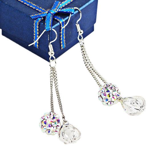 Geometric Tassel Ball Water Droplets Earrings