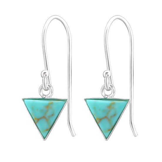 Silver Triangle Earrings with Imitation Green Turquoise