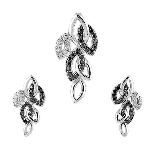 Sterling Silver Oval Shape Earring & Pendant