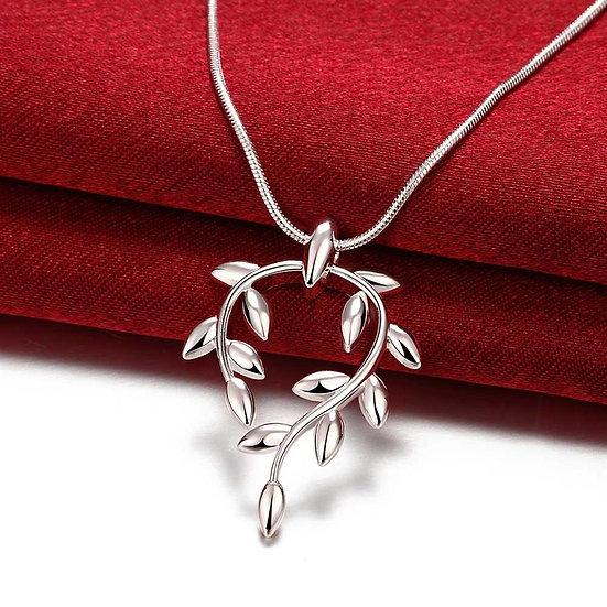 Tear Drop Leaf Pendant Silver Plated