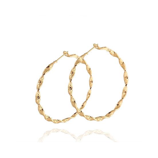Stainless Steel Gold Plated Twist Hoop Earrings