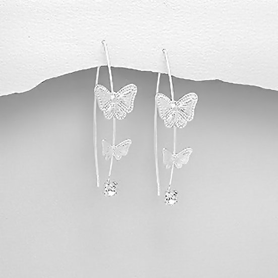 925 Sterling Silver Butterfly Hook Earrings Decorated With Crystal Glass