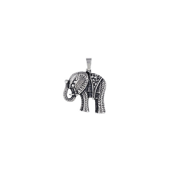 Elephant Pendant Antiqued with Chain