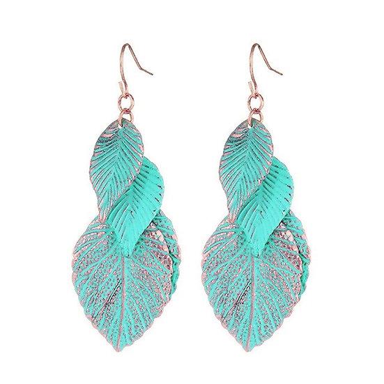 Turquoise Multi Leaf Earrings